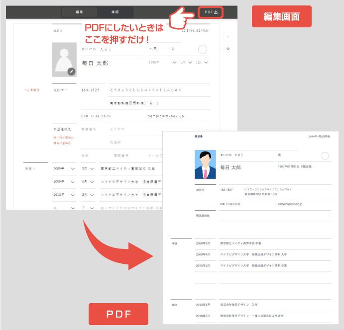 マッチボックスのマイページにログインして履歴書を作成